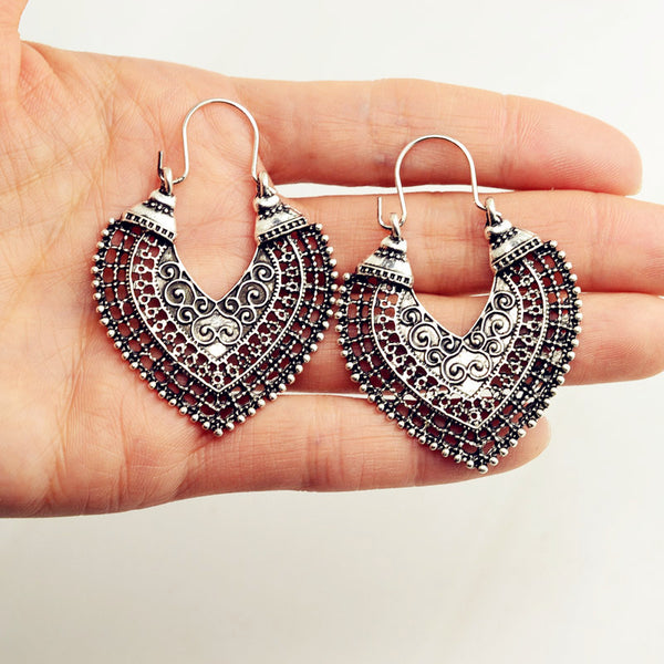 Vintage Boho Silver Earrings