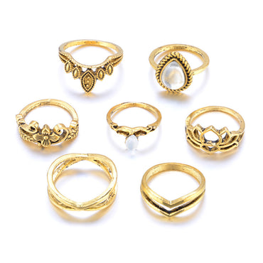 7pcs/Set Womens Bohemian Vintage Stack Rings