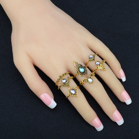 7pcs/Set Bohemian Vintage Silver Stack Rings