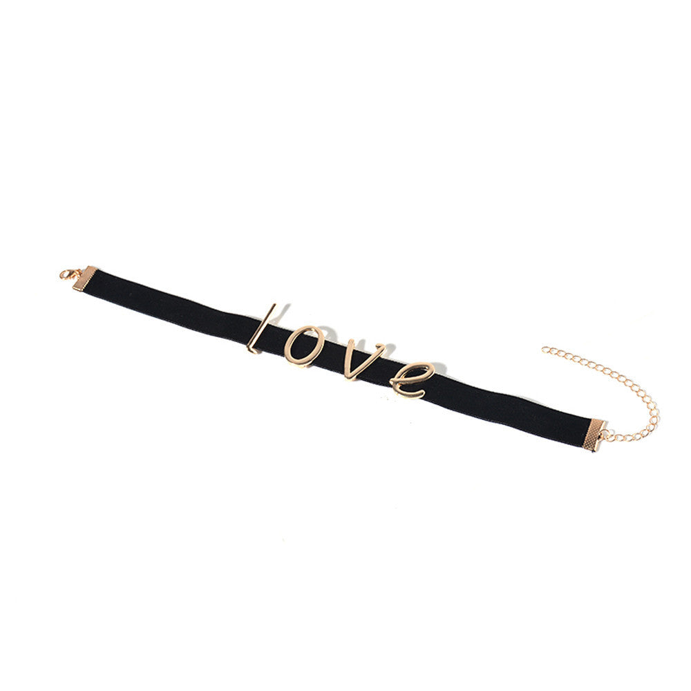 'Love'  Retro  Velvet Choker Necklace
