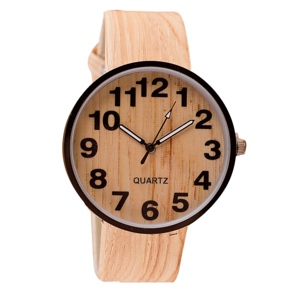 Beautiful Simple Wood Design Leather Quartz Women's Watch