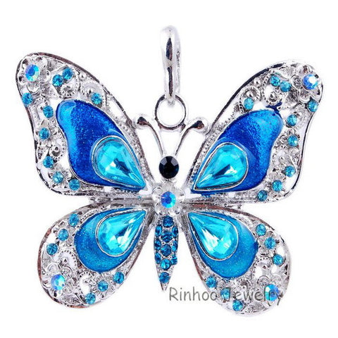 Beautiful Rhinestone Long Butterfly Necklace
