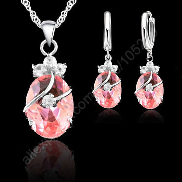 Charming 925 Sterling Silver Crystal Pendant Necklace & Earrings