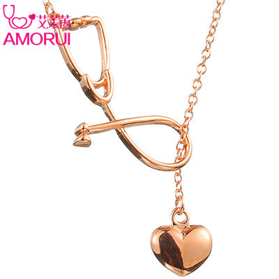 Unusual Medical Stethoscope & Heart Pendant Necklace!