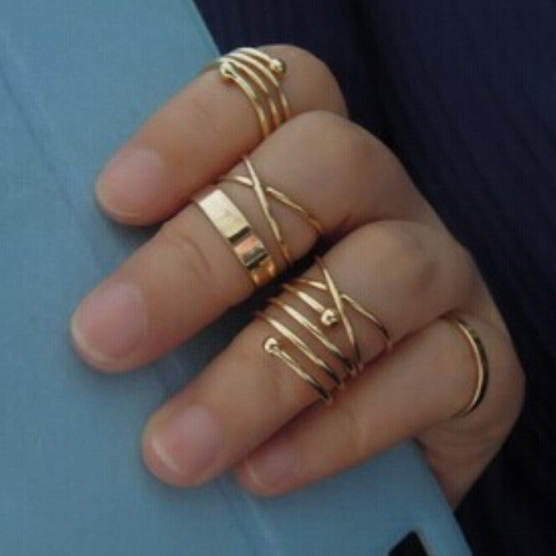 6Pcs/Set Vintage Design Stack rings