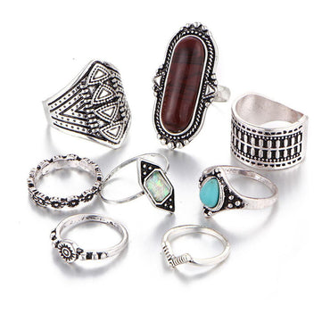 8PCS Vintage Women's Boho Crystal Flower Ring Set