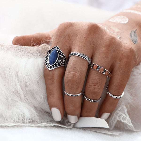 6pcs/Set Women's Bohemian Vintage Silver Stack Rings