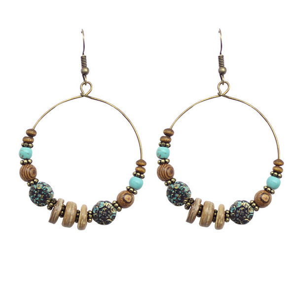 Retro Vintage  Wood Beads Bronze Plated Round Boho Earrings