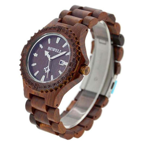 Natural Wooden Wristwatch Wood Watch Quartz with Date + Box