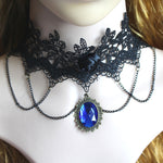 Black Lace Crystal Steampunk Choker Necklace