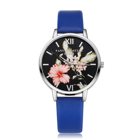 Fashion Leather Band Analog Quartz Round Wrist Watch