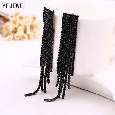 Black Full Rhinestone Vintage Tassel Earrings Drop Earrings