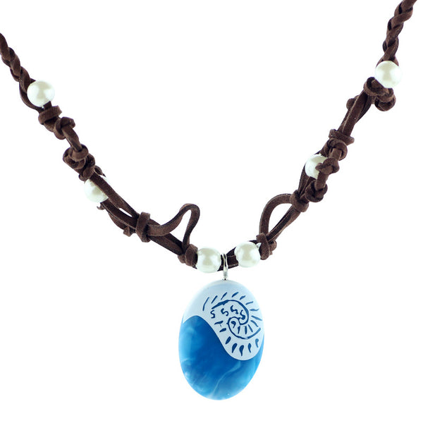 Ocean Rope Blue Stone Suede Choker Necklace & Pendant