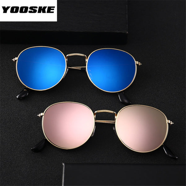 Bright Reflective Mirror Round Glasses