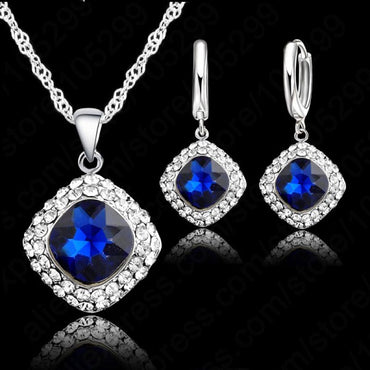 6 Colors 925 Sterling Silver Necklace and Earrings Set!
