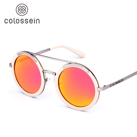 Retro Steampunk Mirrored Round Sunglasses