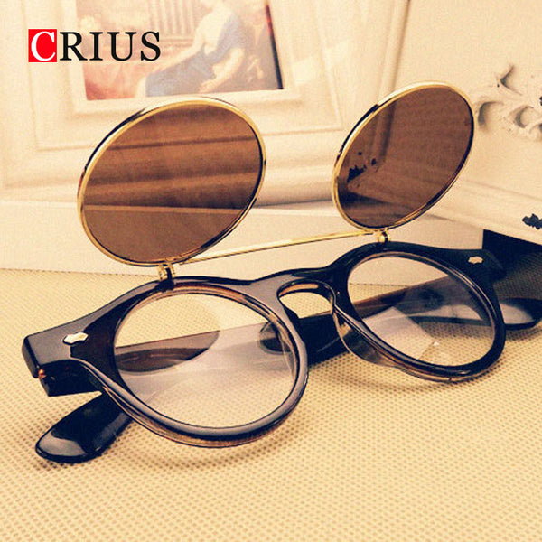 Steampunk style retro flip circular double metal sunglasses