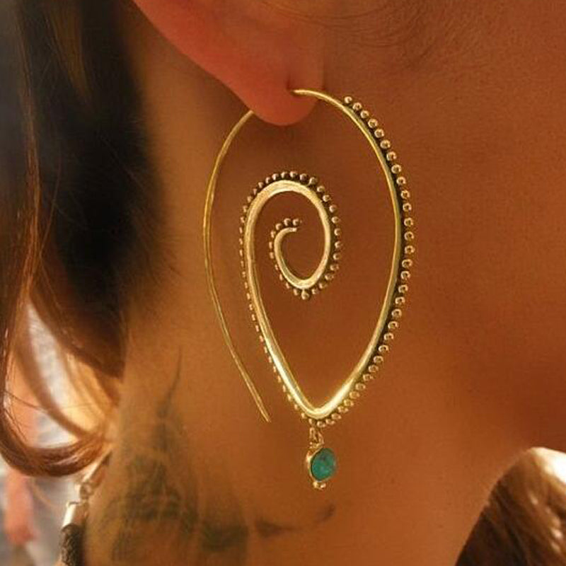 Round Spiral Drop Earrings Gold / Silver