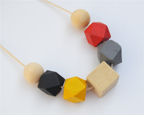 Wax String Mixed Color Wood Necklace with Painted Chunky Beads
