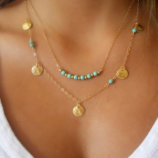 Simple Boho Gold Plated layered necklace