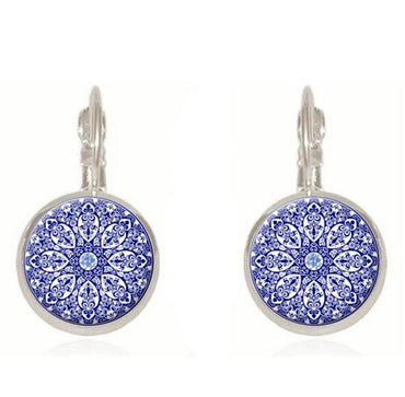 Henna Flower Pendant  Earrings