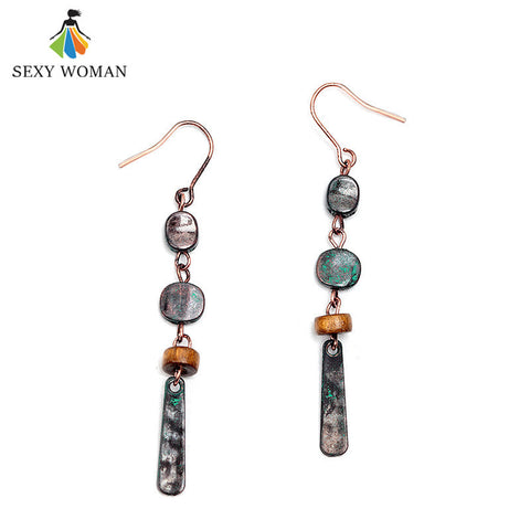 Vintage Zinc Alloy Drop Earrings with  Wood Beads