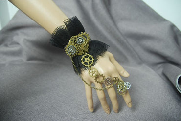 Lace  Steampunk Finger Bracelet