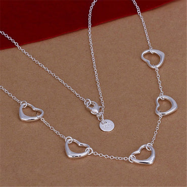 Beautiful silver plated  five Lovely Heart-shaped Necklace Limited Stock!