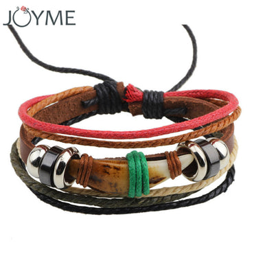 Braided wolf teeth leather vintage bracelet