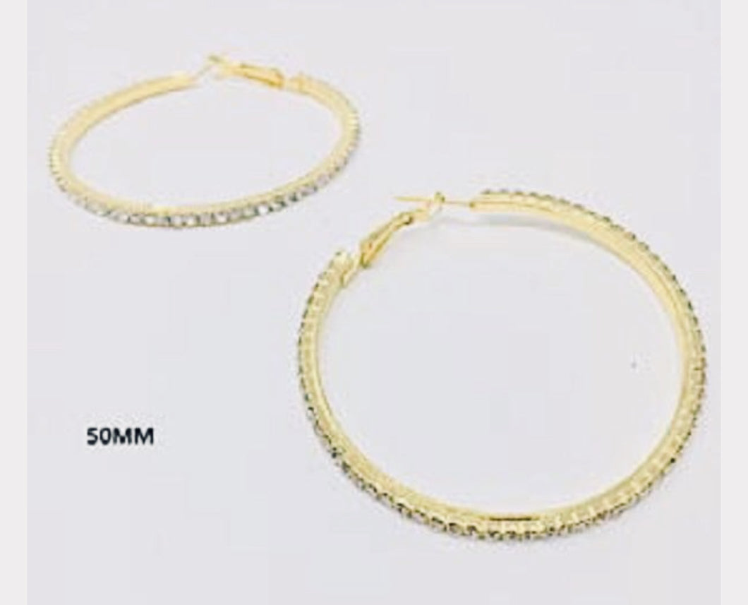 Gold/Silver Clear Rhinestone Hoops