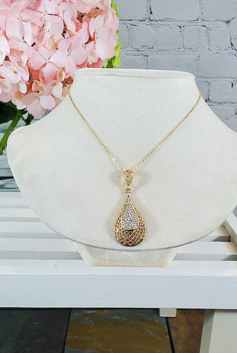 Gold Teardrop Necklace with stones