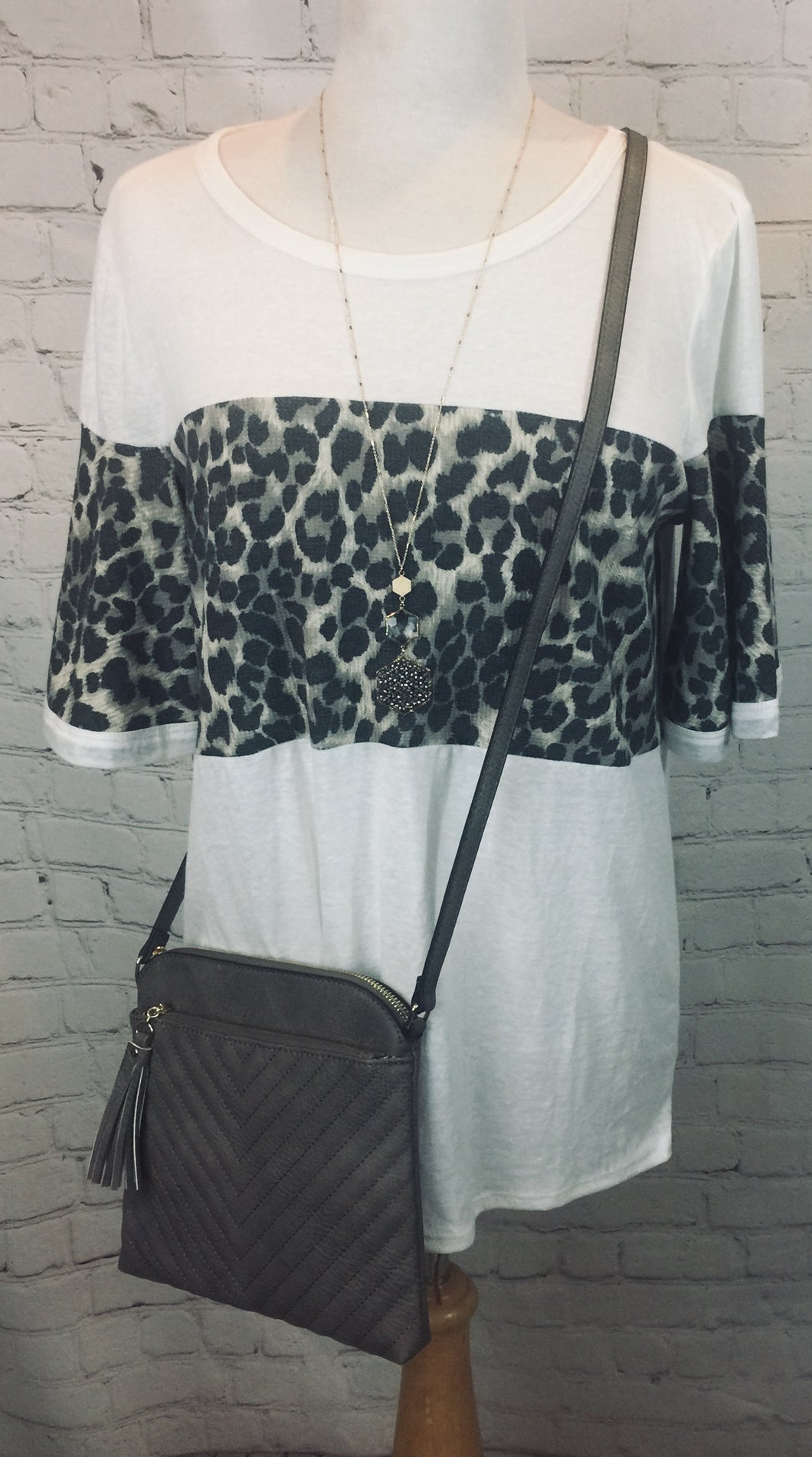 White color block Leopard top