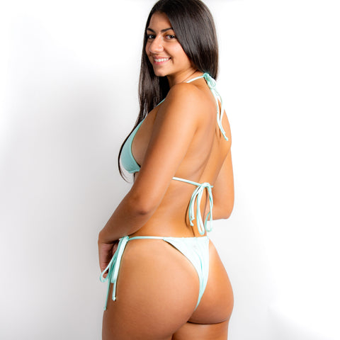 Smiley String Side Bottoms - Shimmer Blue