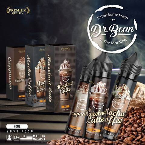 Dr. Bean - 3 Coffee Flavors (Hazelnut Latte / Mocha Coffee / Cappucino) - 60ml
