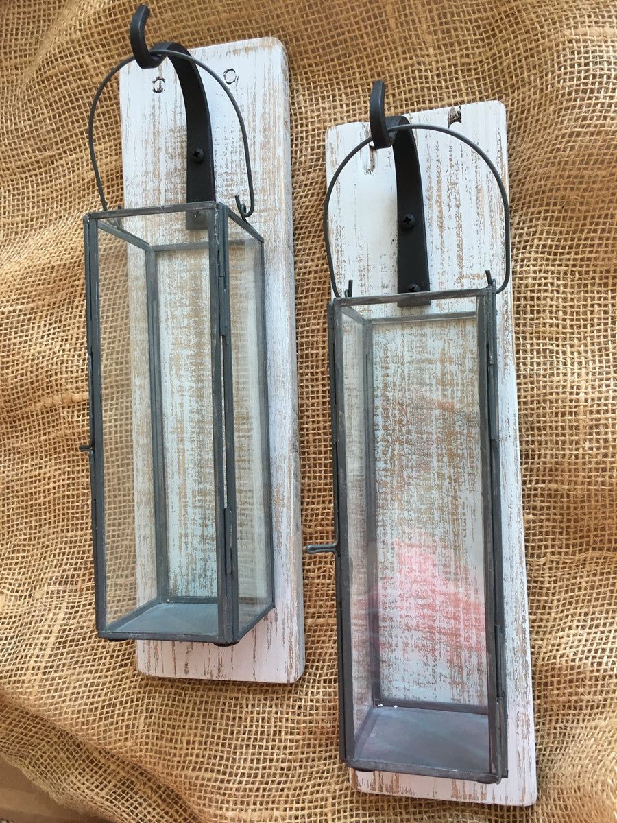 Set Of 2 Reclaimed Wood Lantern Sconces With Metal Lead Glass Lanterns 3driftsaway