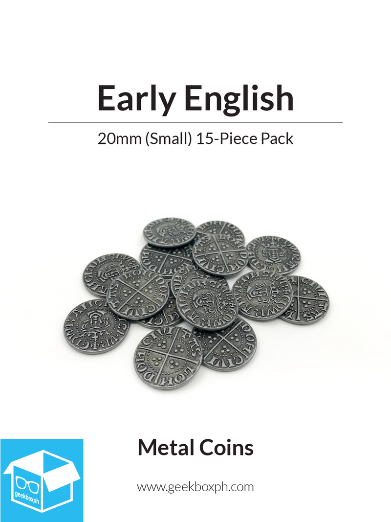 Early English Themed Metal Coins (Various Sizes)