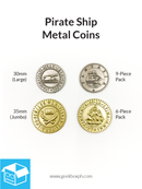 Pirate Ship Themed Metal Coins (Various Sizes)