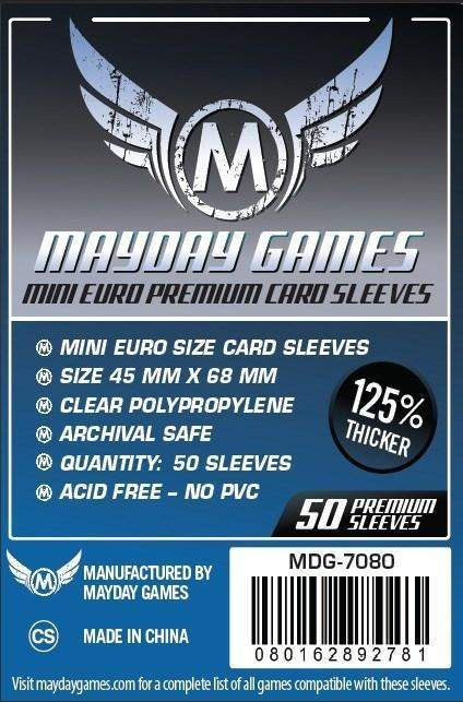 45x68mm Mayday Mini Euro Game Sleeves (Standard/Premium)