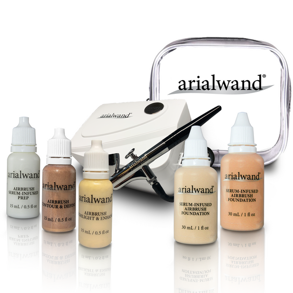 Arialwand Airbrush Makeup Kit -COMPLETE - LIGHT (Shade 1 & 2)