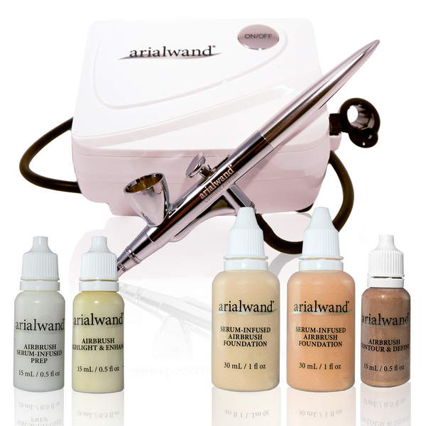Arialwand Airbrush Makeup Essential Kit- FAIR Skin Tone + 2 Free Gifts