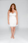 white wedding lingerie nightie with built-in support