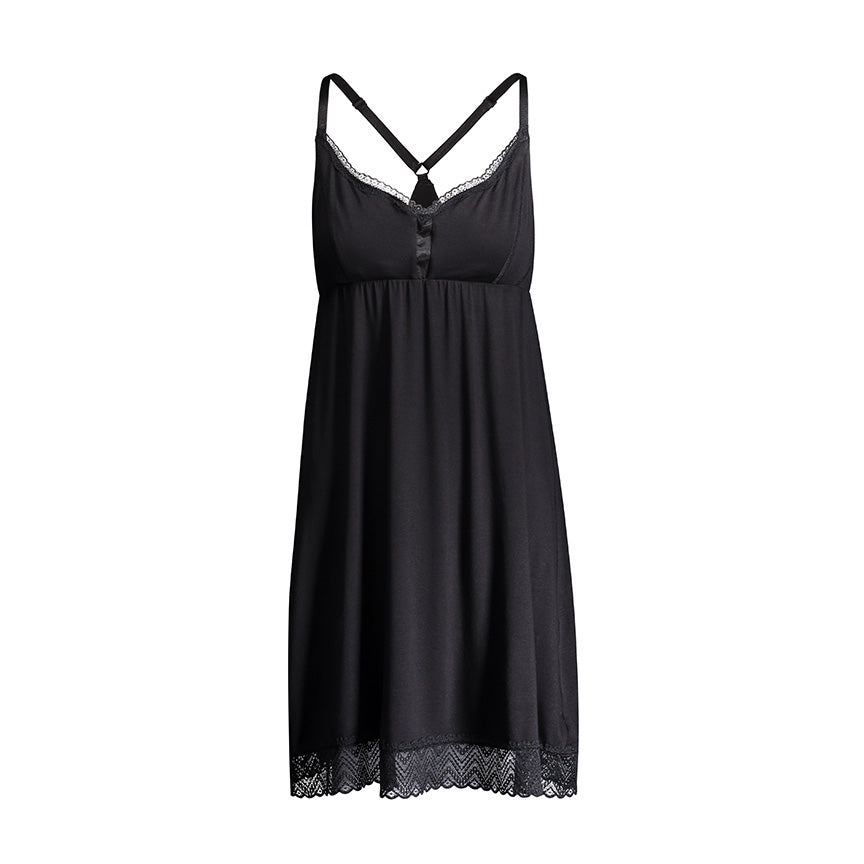 Nightie with lace trim
