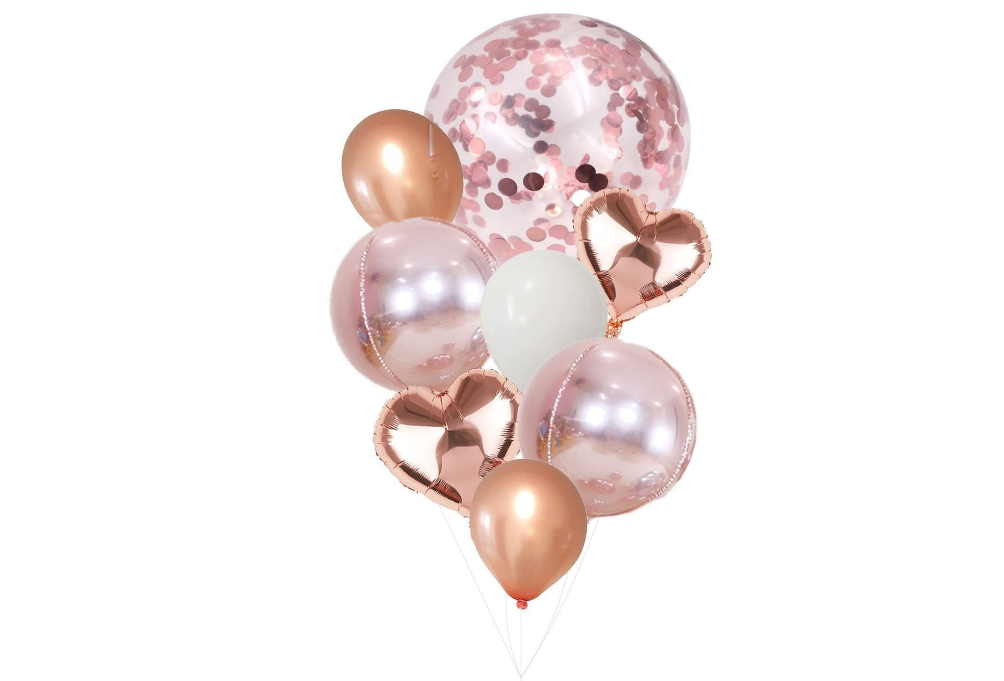 Rose Gold Balloons Balloon Bouquet Bundle With Confetti Balloons Glamcelebration