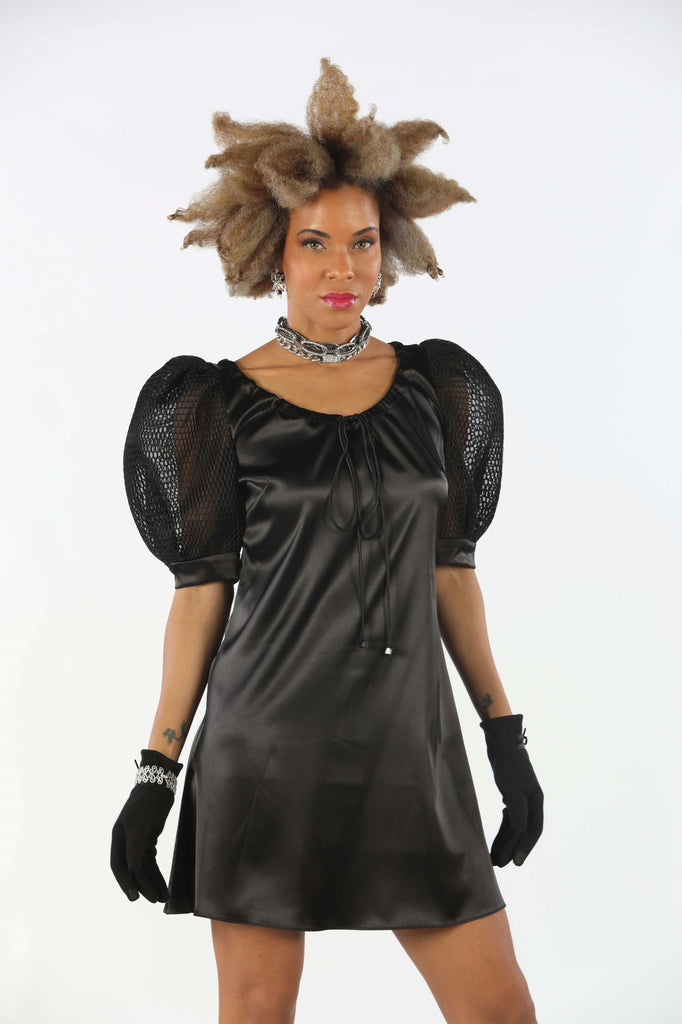 Black Mini Dress Webbed Puffed Sleeves