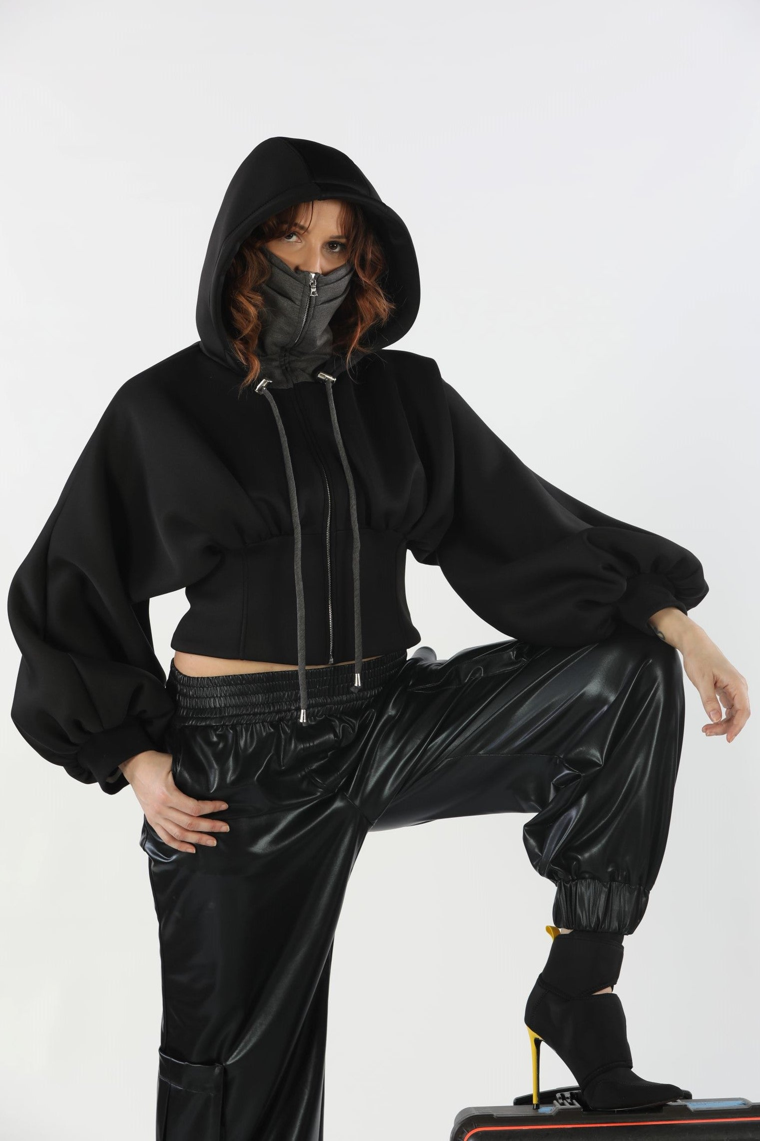 Dolman Sleeves Boned Waistline Top with attachable mask