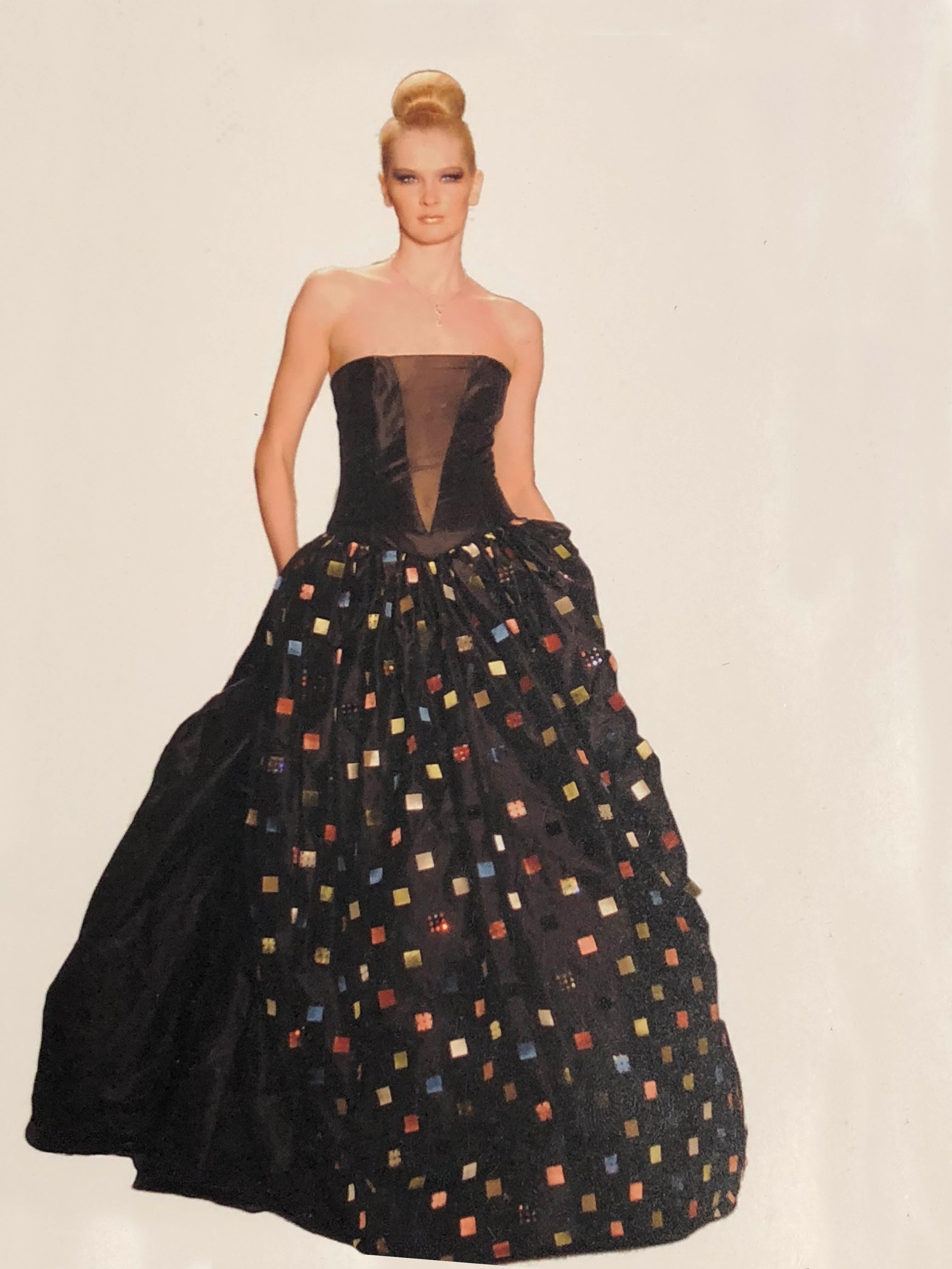 Silk taffeta strapless boned bodice, with boxes of colorful suede and rhinestone