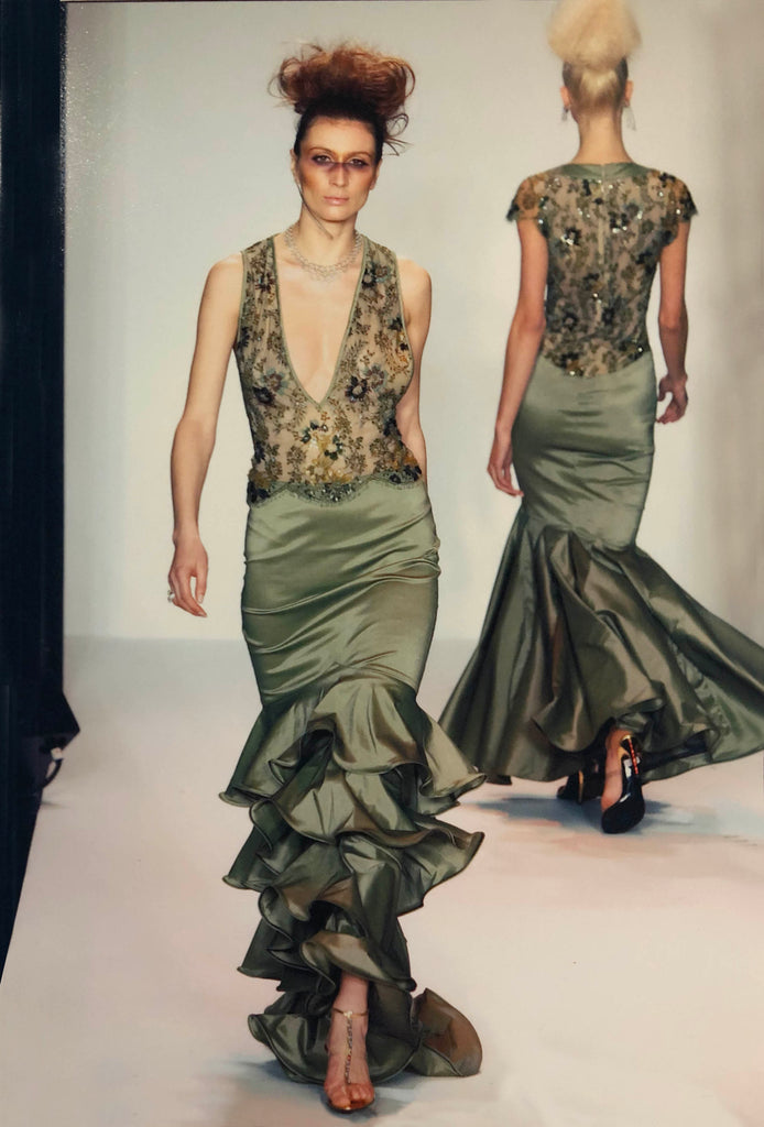 Metallic embroidered deep V-green gown