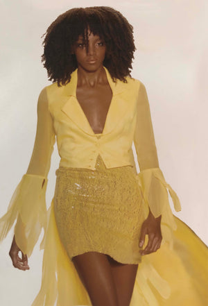 Two piece yellow tuxedo cocktail dress