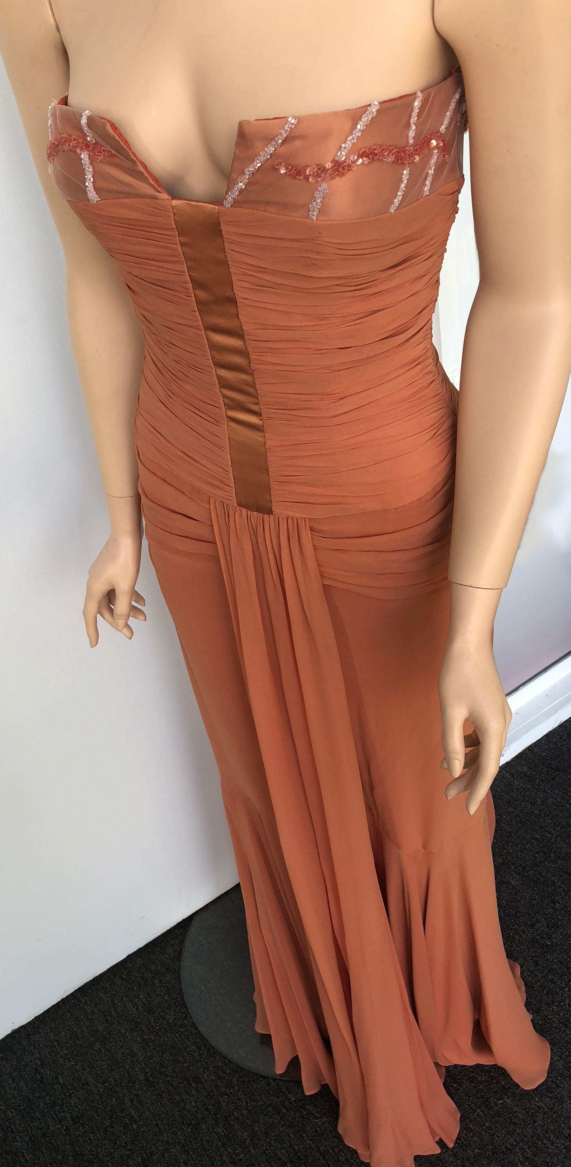 Soft peach maxi gown