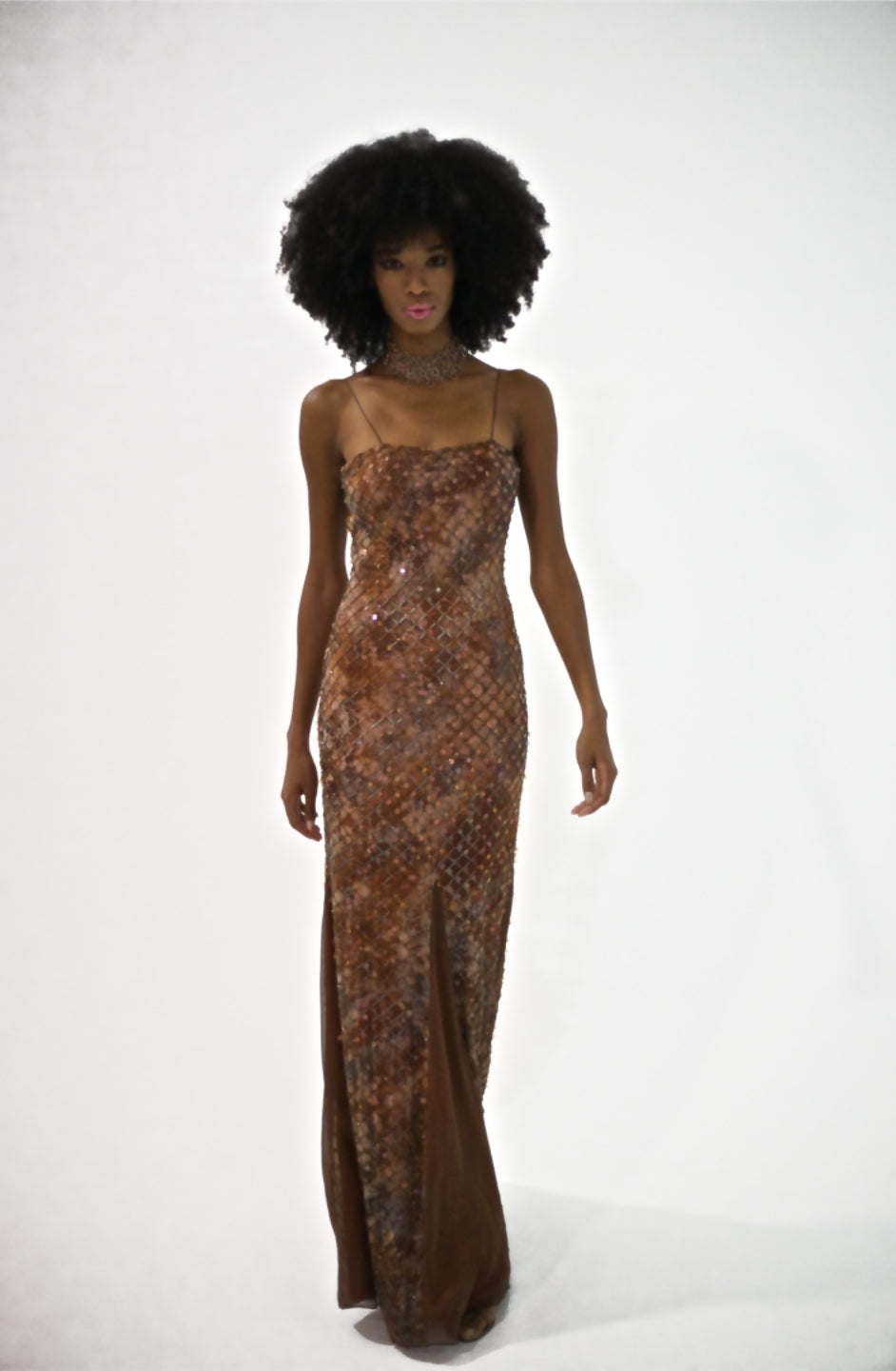 Brown/Silk Chiffon Strapped Embroidered Sequence Body Fitted to Flare Sided Chiffon Evening Gown